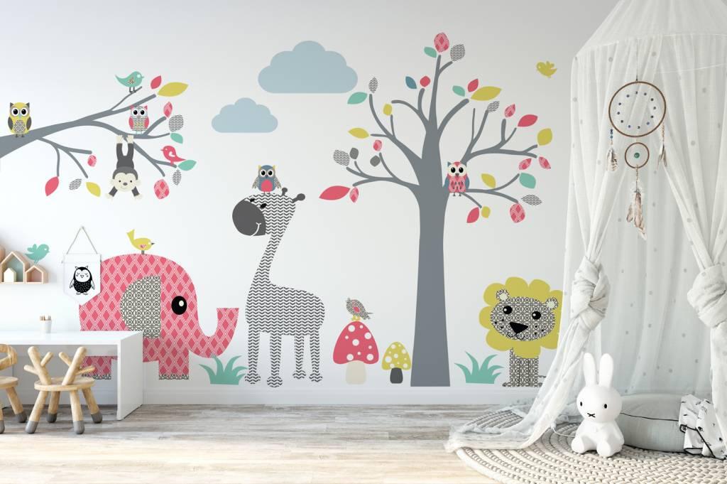 Muursticker boom tak safari pink decodeco happy walls
