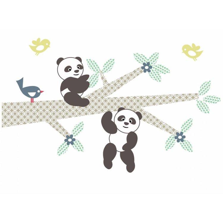Muursticker Tak Panda's blue