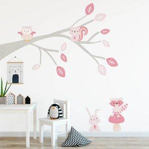 DecoDeco Muursticker Tak Woodland pink