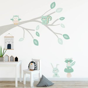 Muursticker Tak Woodland mint