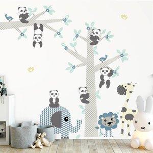 Muursticker Boom & tak Panda's blue