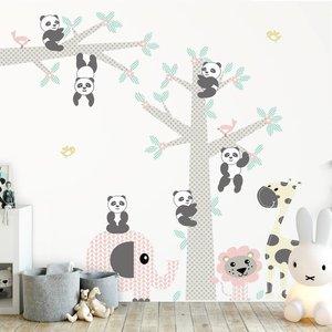 Muursticker Boom & tak Panda's pink