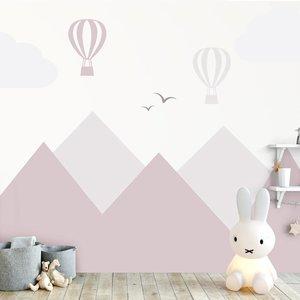 Muursticker Bergen en luchtbalonnen pink