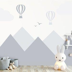 Muursticker Bergen en luchtballonnen grey