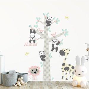 DecoDeco Muursticker Boom Panda's pink met naam