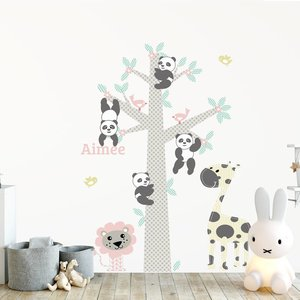 Muursticker Boom Panda's pink met naam