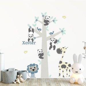 Muursticker Boom Panda's blue met naam