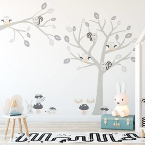 Muursticker Boom & Tak Woodland grey