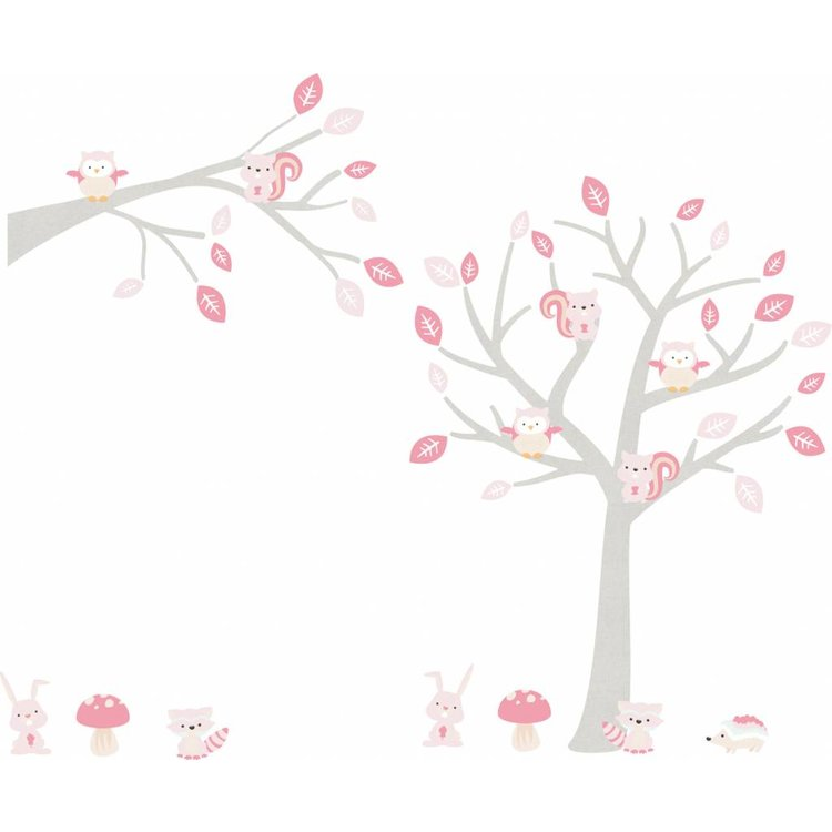 Muursticker Boom & Tak Woodland pink