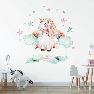 Muursticker Unicorn 1 met naam