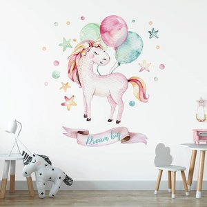 DecoDeco Muursticker Unicorn 2 Dream big