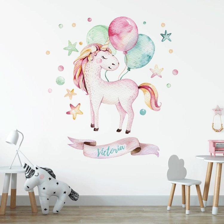 Muursticker Unicorn 2 met naam