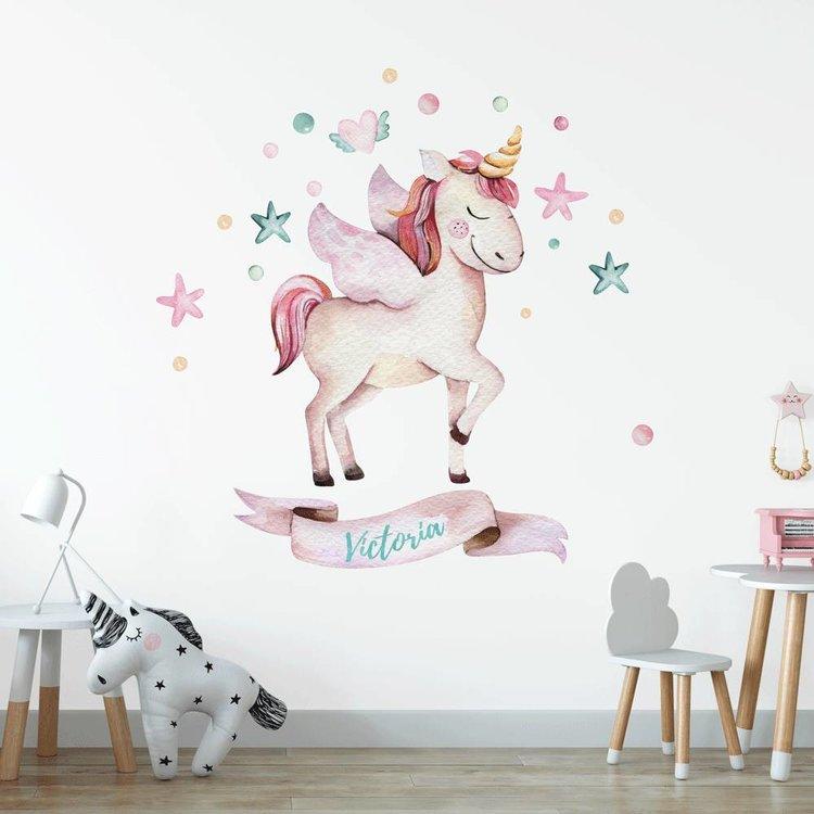 Naam Muursticker Babykamer.Muursticker Babykamer Unicorn Eenhoorn 3 Met Naam Gratis Verzonden