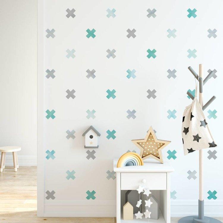 Muursticker Watercolor Confetti Crosses mint