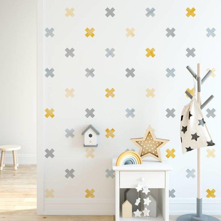 Muursticker Watercolor Confetti Crosses yellow