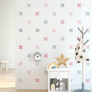 Muursticker Watercolor Confetti Crosses pink
