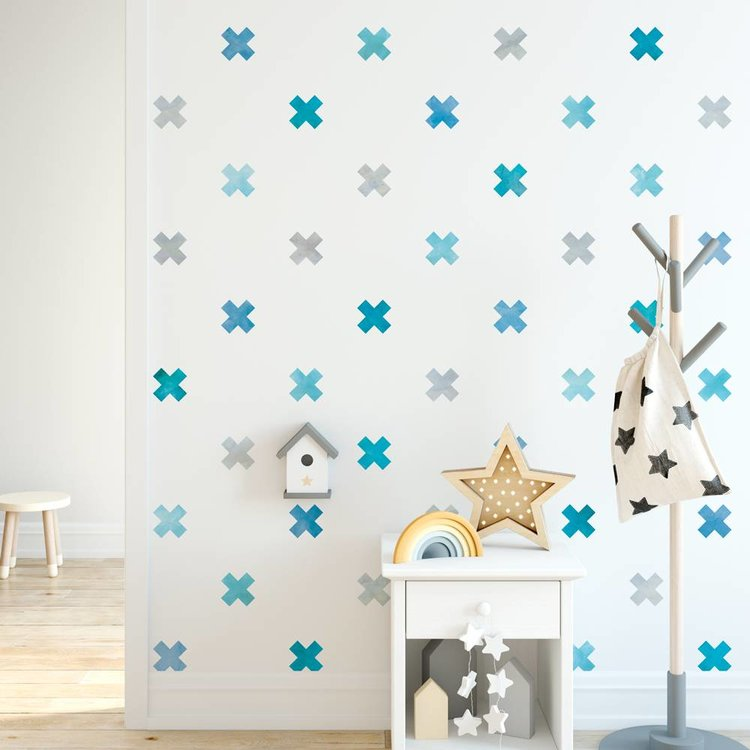 Muursticker Watercolor Confetti Crosses blue