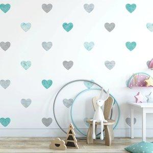 Muursticker Watercolor Confetti Hearts mint