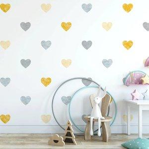 Muursticker Watercolor Confetti Hearts yellow