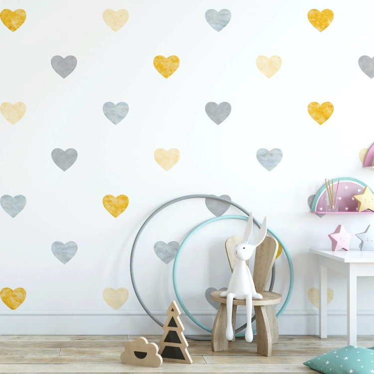 Muursticker Watercolor Confetti Hearts yellow