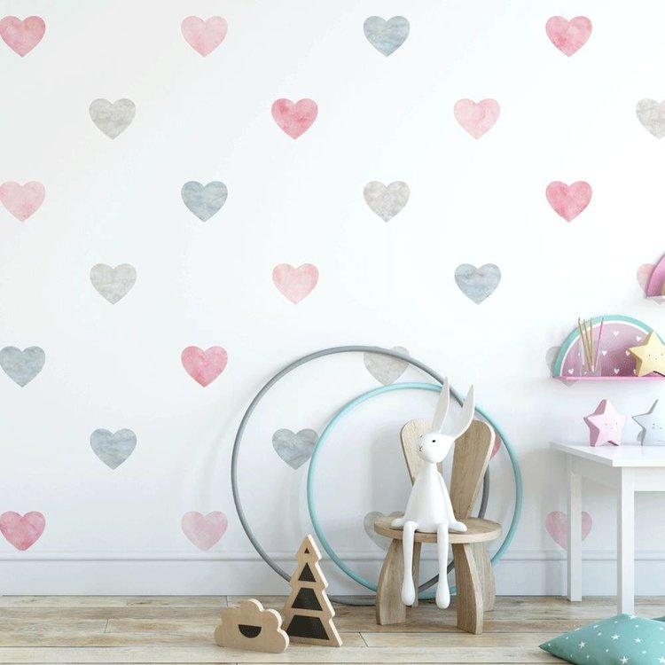 Muursticker Watercolor Confetti Hearts pink