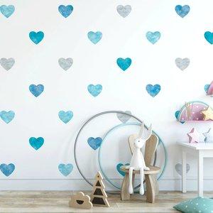 Muursticker Watercolor Confetti Hearts blue