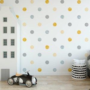 Muursticker Watercolor Confetti Dots yellow