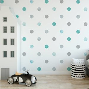 Muursticker Watercolor Confetti Dots mint