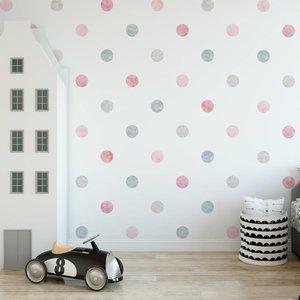 Muursticker Watercolor Confetti Dots pink