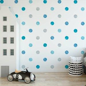 Muursticker Watercolor Confetti Dots blue