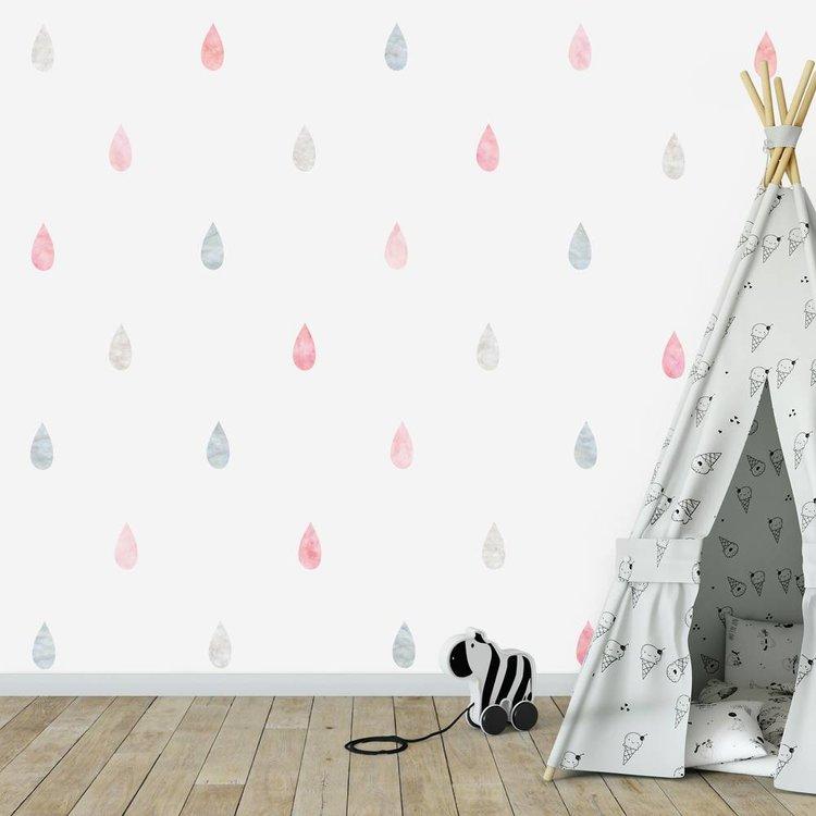 Muursticker Watercolor Confetti Drops pink