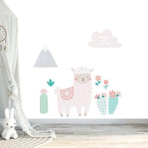 Muursticker Lama pink