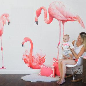 Muursticker 3 flamingo's