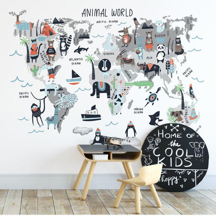 Muursticker Wereld met dieren blauw