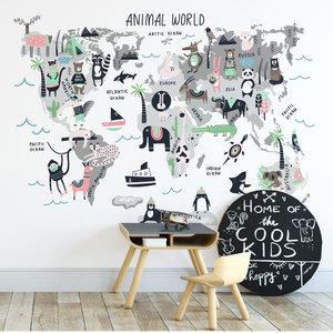 Muursticker Wereld met dieren roze