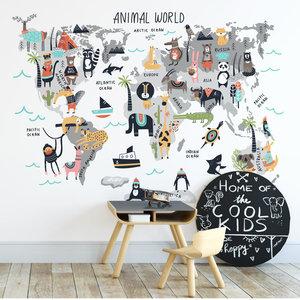 Muursticker Wereld met dieren multi