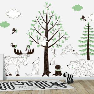 Muursticker Bomen set Forest green