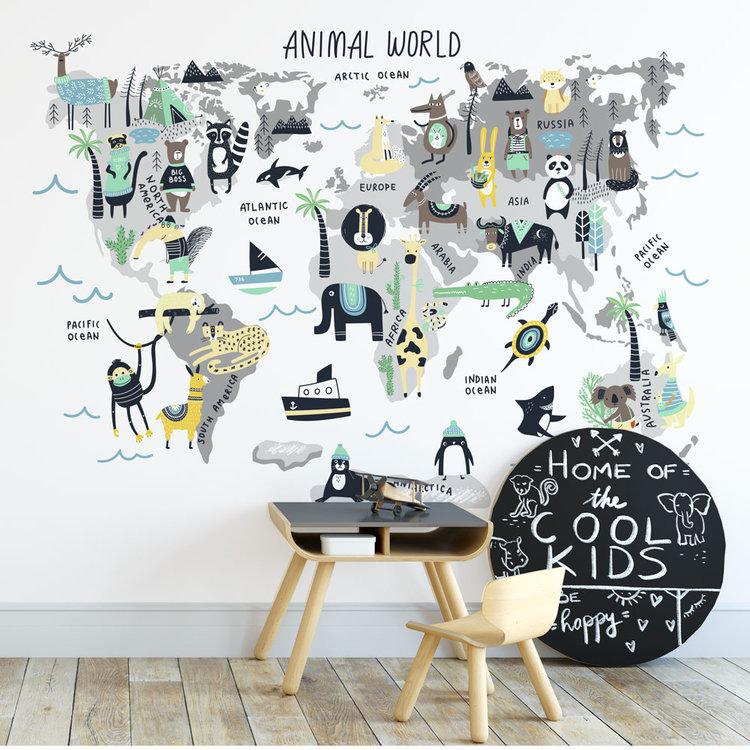 Muursticker Wereld met dieren geel