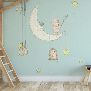 Kinderbehang Egeltje aan maan- blauw