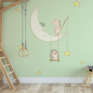 Kinderbehang Egeltje aan maan- groen