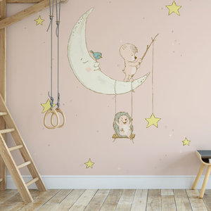 Kinderbehang Egeltje aan maan- roze