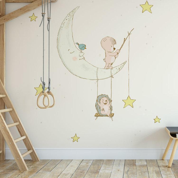Kinderbehang Egeltje aan maan- creme