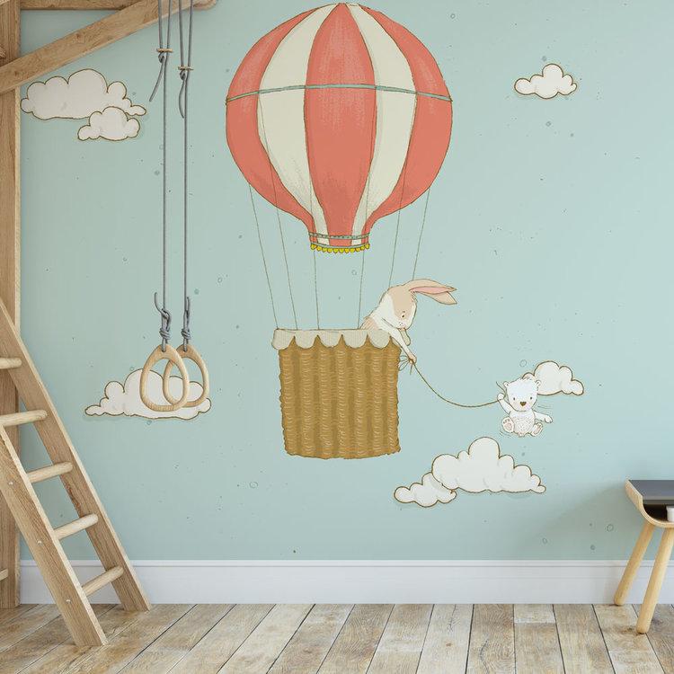 Kinderbehang Luchtballon met dieren- blauw