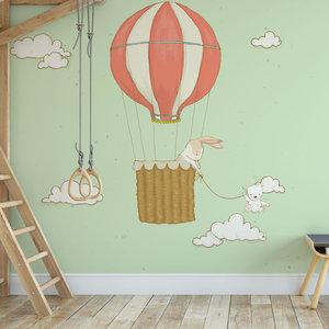 Kinderbehang Luchtballon met dieren- groen