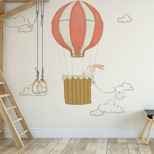Kinderbehang Luchtballon met dieren- creme