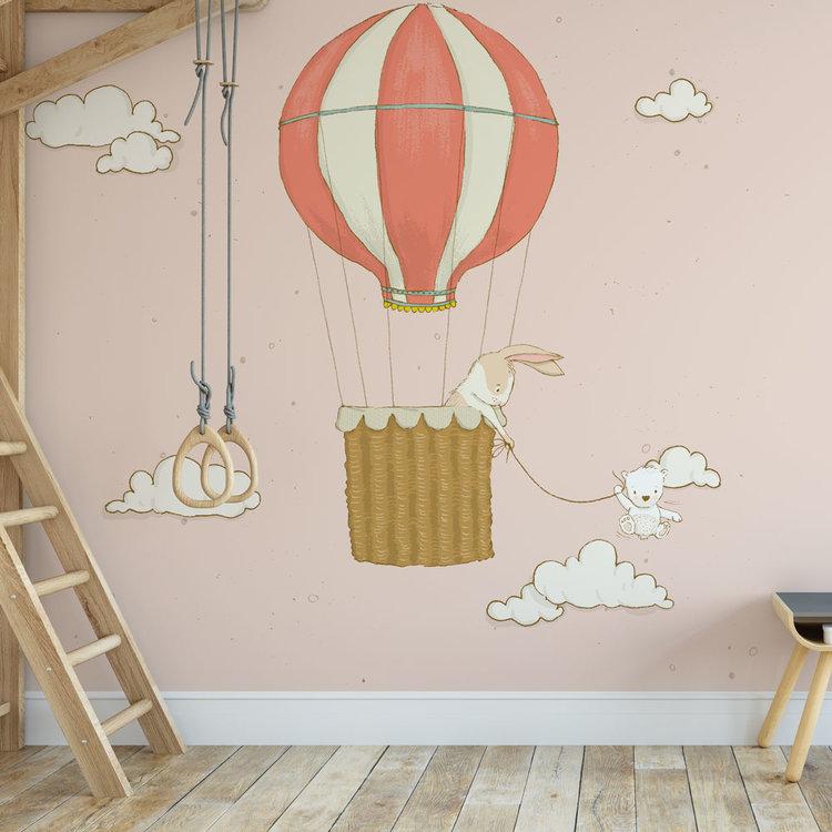 Kinderbehang Luchtballon met dieren- roze