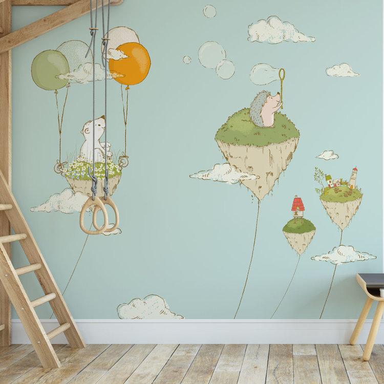Kinderbehang Eilandjes met dieren- blauw