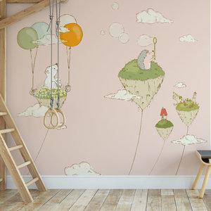 Kinderbehang Eilandjes met dieren- roze