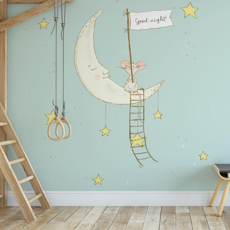 Kinderbehang Muisje op maan - blauw