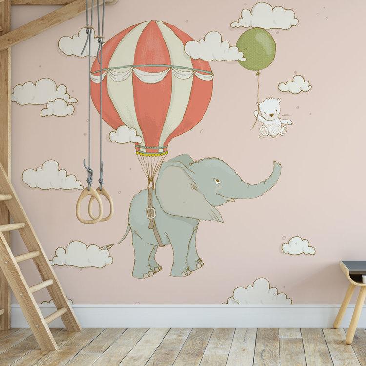 Kinderbehang Olifantje aan ballon - roze